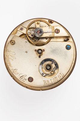 Taschenuhrwerk mit Zylinderhemmung, Händlersignatur Schwer & Co., Bristol