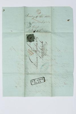 Briefhülle, Geschäftsbrief Fürderer Jaegler & Cie., Straßburg 1852