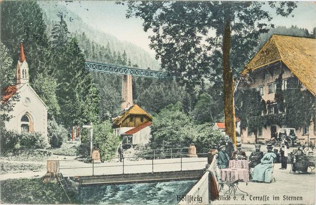 Höllsteig, Blick von der Terasse des Gasthauses Sternen, Postkarte von 1906