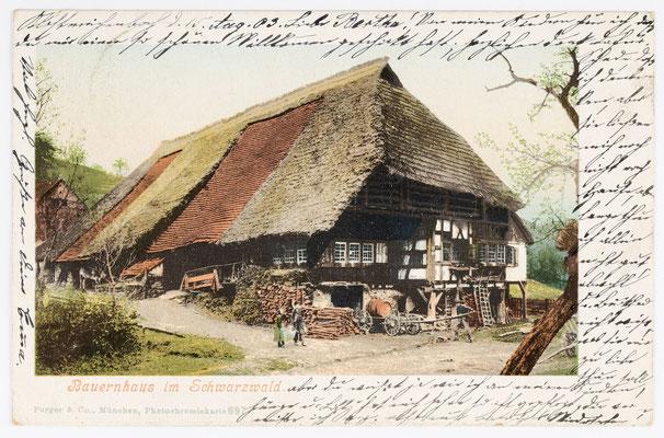 Postkarte, Bauernhaus im Schwarzwald, Poststempel 1903