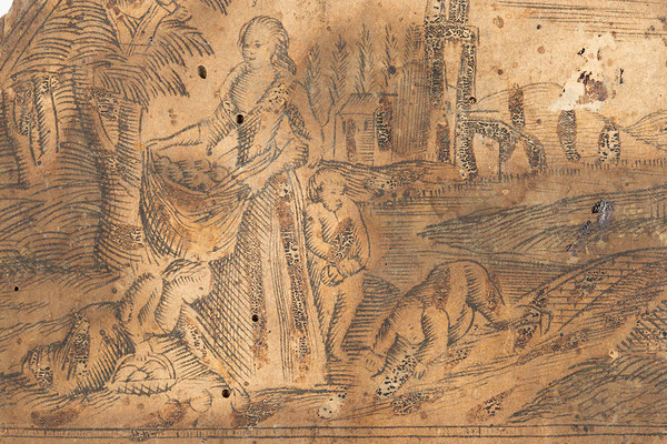 Detail Uhrenschild mit der Darstellung der Apfelernte, Schwarzwälder Schilderuhr um 1800