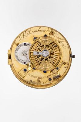Taschenuhr mit Spindelhemmung, Kolumban Hoeffler, Lenzkirch um 1840, Uhrwerk Rückseite