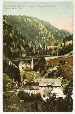 Gasthaus zum Sternen im Höllental und Ravenna Viadukt, Postkarte vom 07. Sep. 1909