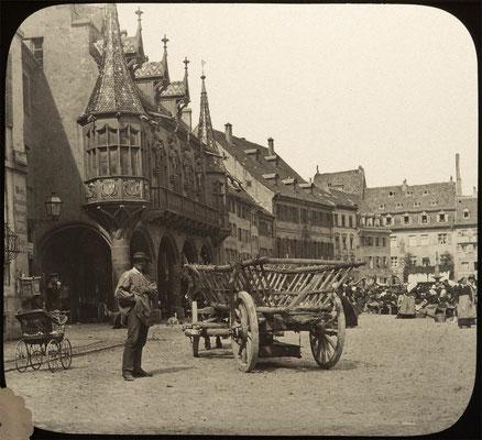 Historisches Kaufhaus am Münsterplatz in Freiburg um 1900