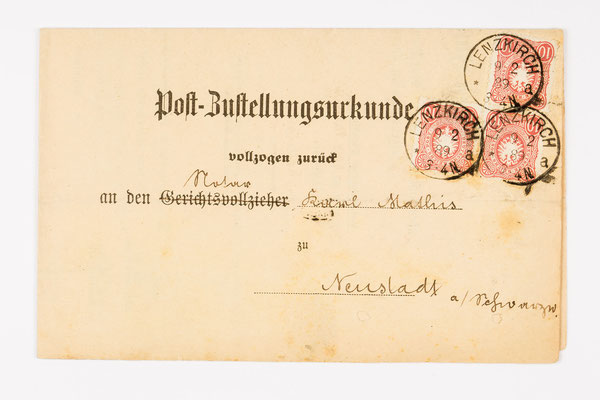 1889 Postzustellungsurkunde von Lenzkirch nach Neustadt