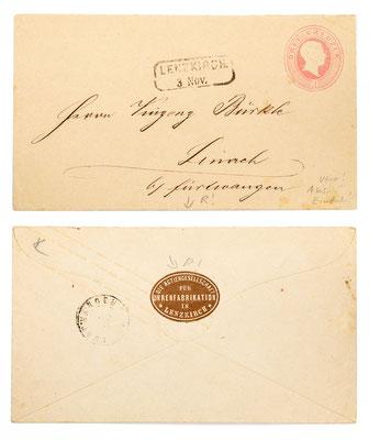 Ganzsache Baden 3 Kreuzer,  von  der Aktiengesellschaft für Uhrenfabrikation Lenzkirch an Vinzenz Bürkle in Linach bei Furtwangen, 1860ger Jahre