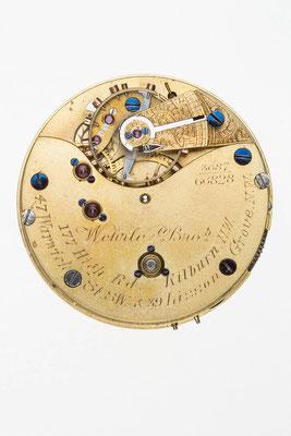 englisches Taschenuhrwerk, Signatur von Wehrle Bros.