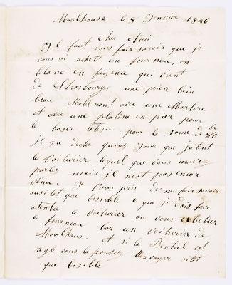 08. Januar 1846, Brief von J.J. Meyer & Cie (Mulhouse) an S. Marti & Cie. (Montbéliard), Inhalt 1