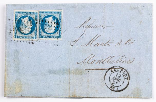 18. Dezember 1857, Brief von S. Lehmann Fils (Belfort) an S. Marti & Cie. (Montbéliard)