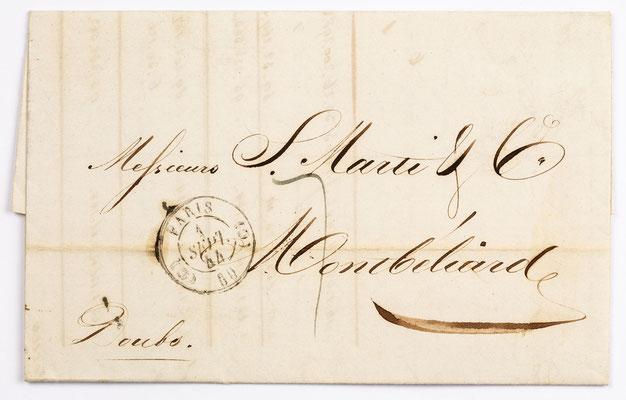 01. September 1844, Brief von S. Marti & Cie. (Paris) an S. Marti & Cie. (Montbéliard)