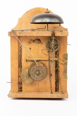 Lackschilduhr mit Schlagwerk und Wecker, Ph. Haas & Söhne, um 1900, Uhrwerk Zifferblattseite