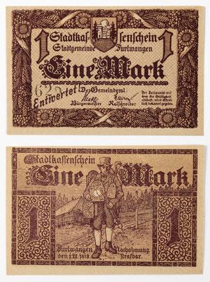 Notgeld, Eine Mark Stadtkassenschein Furtwangen 1918, Rückseitig mit Uhrenträger