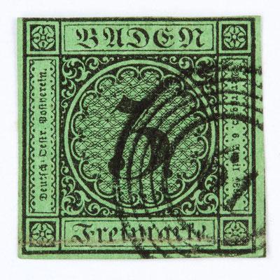 Briefmarke 3 Kreuzer Baden, Ausgabe 1854, entwertet mit dem Nummerstempel 61 für Höllsteig