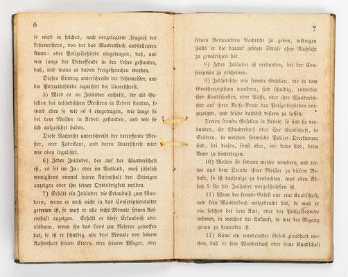 Wanderbuch des Uhrmachergesellen Georg Bilharz von 1849 bis 1851, Kenzingen im Großherzogtum Baden, Seite 6-7
