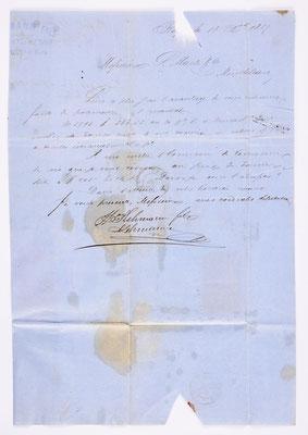 18. Dezember 1857, Brief von S. Lehmann Fils (Belfort) an S. Marti & Cie. (Montbéliard), Inhalt