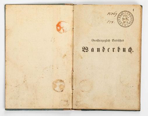Wanderbuch des Uhrmachergesellen Georg Bilharz von 1849 bis 1851, Kenzingen im Großherzogtum Baden, Seite 1