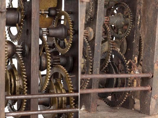 Detail des Räderwerkes nach und vor der Restaurierung