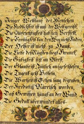 Tafel mit Sinnspruch, Schwarzwald um 1840, Detail Sinnspruch