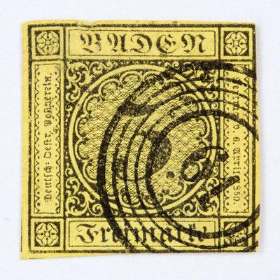 Briefmarke 3 Kreuzer Baden, Ausgabe 1852, entwertet mit dem Nummerstempel 61 für Höllsteig