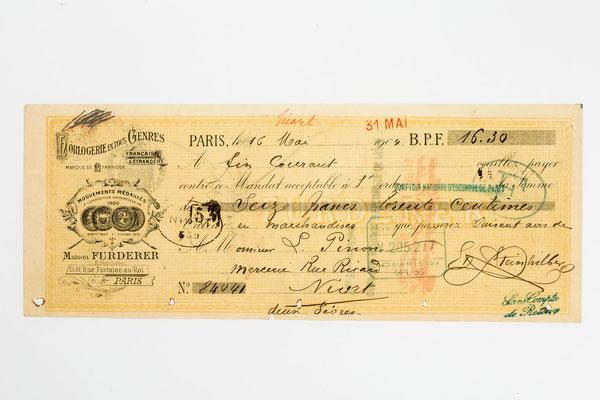 Wechsel von Maison Furderer, Paris 1904