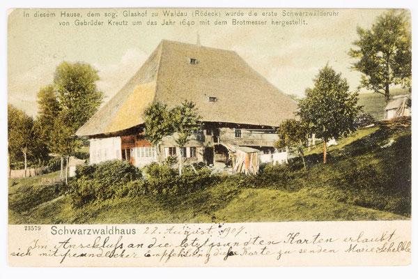 Glashof, Ursprungsort der Uhrmacherei, Postkarte gesendet 22.08.1907