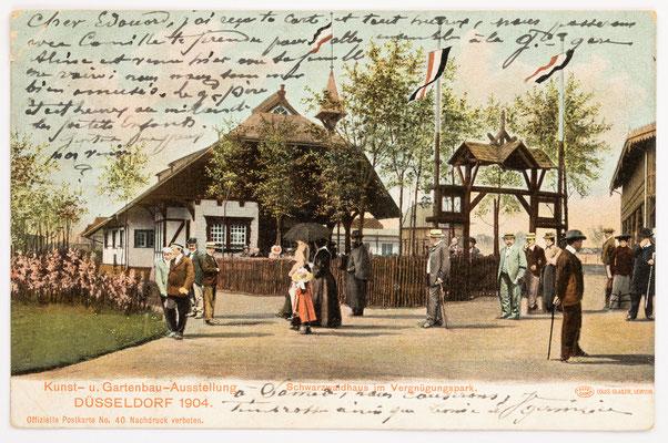 Schwarzwaldhaus im Vergnügungspark, Kunst- u. Gartenbau-Ausstellung Düsseldorf 1904, Postkarte vom 12.08.1904