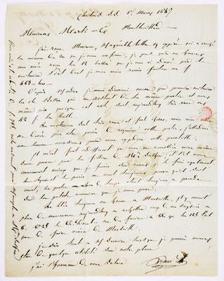 01. März 1847, Brief von Grand (Chálons) an S. Marti & Cie. (Montbéliard), Inhalt