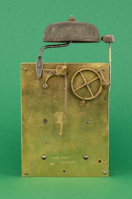 Uhrmacher Jakob Kleiser, 8-Tage Uhrwerk mit Schnecke, Schollach um 1860, Rückseite