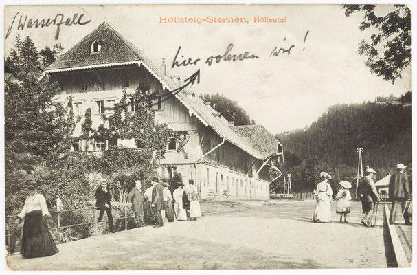 Postkarte, Höllsteig Sternen, Höllental, vom 05. August 1913