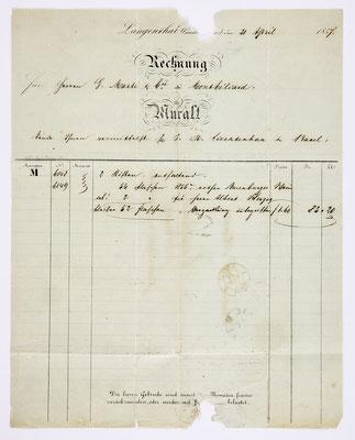 21. April 1857, Brief von Eduard Muralt (Langenthal) an S. Marti & Cie. (Montbéliard), Inhalt