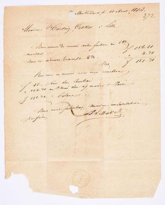 14. April 1843, Brief von S. Marti & Cie. (Montbéliard) an Handing Cooker (Lille), Inhalt
