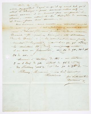 20. Juli 1855, Brief von S. Marti (Paris) an S. Marti & Cie. (Montbéliard), Inhalt