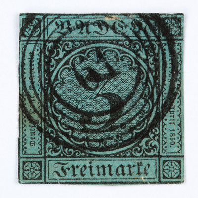 Briefmarke 3 Kreuzer Baden, Ausgabe 1858, entwertet mit dem Nummerstempel 61 für Höllsteig