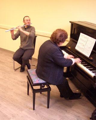 Mit Natalia Walter bei der Vorbereitung zu einem Konzert in Hannoversch Münden in 2010.