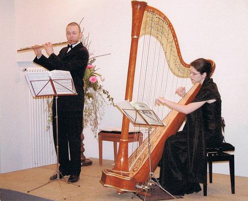 In der Zeit meines Studiums in Strasbourg, 2002. Mit Salomé Magnier an der Harfe.