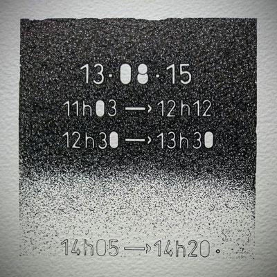 """Jeudi."""" TEMPOREL-XIV """" - 02 h 24 mn. Série 2. Pointe fine sur papier. Format: 15 X 15 cm."""