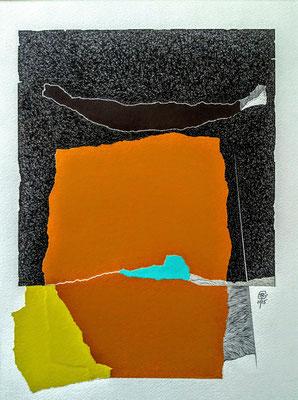 """Sans titre . Série -"""" NOUVEAU SOUFFLE """". Pointe fine et collage sur papier. Format : 30 x 40 cm."""
