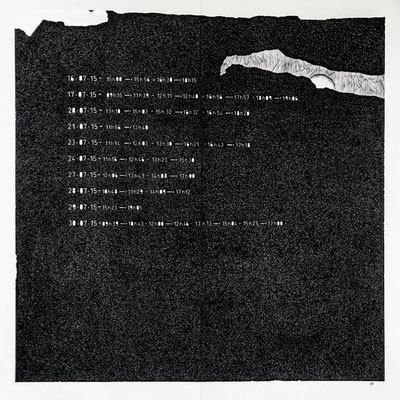""""""" TEMPOREL -X """"- 38 h 41 mn.Série 2. Pointe fine et collage sur papier. Format : 70 x 70 cm."""