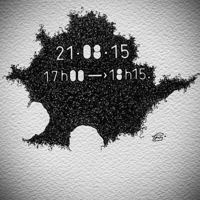 """"""" TEMPOREL -XX """"- 01 h 15 mn. Série 2. Pointe fine sur papier. Format : 15 x 15 cm."""