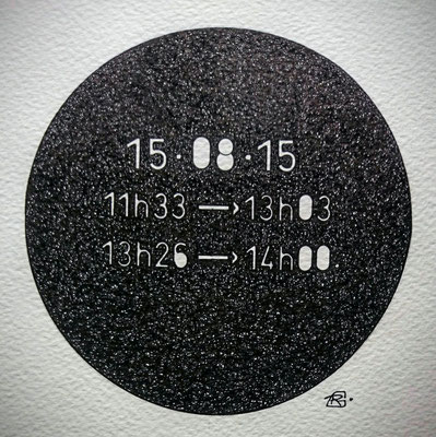 "Samedi. "" TEMPOREL-XVI "" - 02 h 04 mn. Série 2. Pointe fine sur papier. Format: 15 X 15 cm."