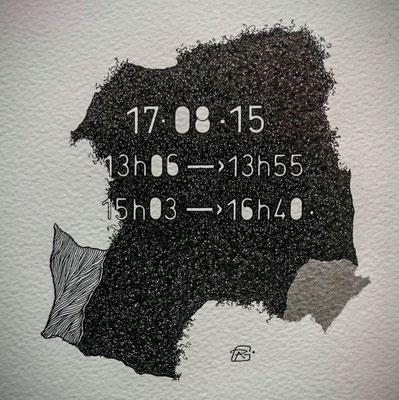 """Lundi. """" TEMPOREL-XVIII """" - 01 h 26 mn. Série 2. Pointe fine et collage sur papier. Format: 15 X 15 cm."""