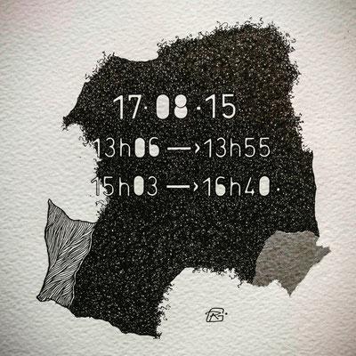 """"""" TEMPOREL - XVIII """"- 01 h 26 mn. Série 2. Pointe fine et collage sur papier. Format : 15 x 15 cm."""