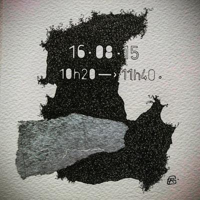"""Dimanche ."""" TEMPOREL -XVII """"- 01 h 20 mn. Série 2.Pointe fine et collage sur papier. Format : 15 x 15 cm."""