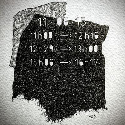 """Mardi . """" TEMPOREL-XII """" - 02 h 48 mn. Série 2. Pointe fine sur papier. Format : 15 x 15 cm."""