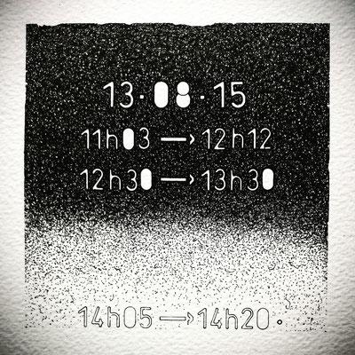 """Jeudi . """" TEMPOREL-XIV """" - 02 h 24 mn. Série 2. Pointe fine sur papier. Format : 15 x 15 cm."""