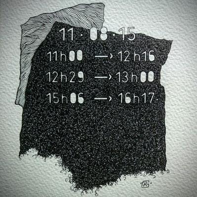 """Mardi. """" TEMPOREL-XII """"- 02 h 48 mn. Série 2. Pointe fine sur papier. Format: 15 X 15 cm."""
