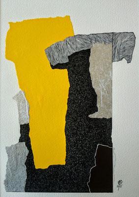 """Sans titre . Série -"""" NOUVEAU SOUFFLE """". Pointe fine et collage sur papier. Format : 24 x 30 cm."""