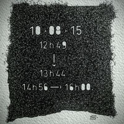 """Lundi. """" TEMPOREL-XI """"- 01 h 49 mn. Série 2. Pointe fine sur papier. Format : 15 X 15 cm."""