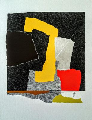 """Sans titre. Série - """" NOUVEAU SOUFFLE """"- Pointe fine et collage sur papier. Format : 30 x 40 cm."""