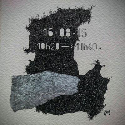 """Dimanche. """" TEMPOREL-XVII """" - 01 h 20 mn. Série 2. Pointe fine et collage sur papier. Format: 15 X 15 cm."""
